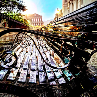 Benches at dawn in the French Quarter