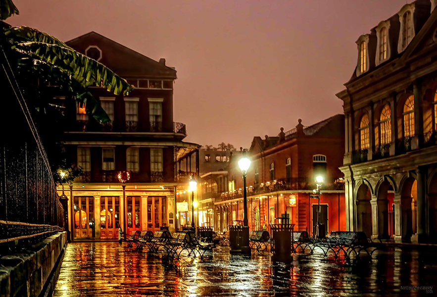 An early morning shot of Jackson Square and the Petite Theater in the French Quarter