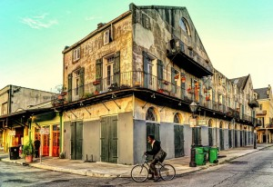 Man on a bicycle in the French Quarter, New Orleans, LA